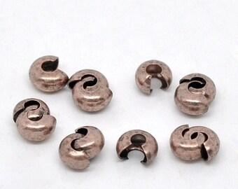 30% Retirement Closeout - Antique Copper, 4mm Crimp Cover, 50 Pieces, 5CR13-4007