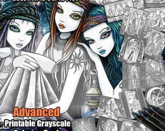17 Pages - Set 3 - ADVANCED GRAYSCALE - Printable Coloring Book - Celestial Beauties - Myka Jelina - Fairy Coloring Book - Adult Coloring