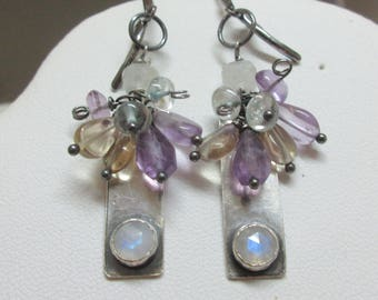 Moonstone Earrings, Cluster Earrings, Bar Earrings, Amethyst, Citrine, Blue Topaz Earrings, Sterling Silver Earrings  Maggie McMane Designs