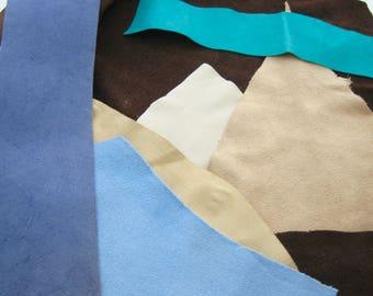 Suede Leather Scraps, Brown Suede, Blue Suede, Beige Suede Scraps, Pigskin Scraps, Fall Fashion Supplies, Jewelry Supplies