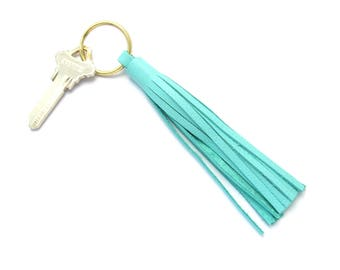 Leather Tassel Key Ring, Nautical Brass Keychain, Aqua Leather Tassel, Handmade Leather Key Fob, Fashion Keychain, Brass and Leather