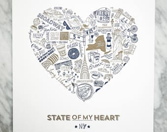 State of My Heart New York Art Print : Navy or Pink & Gold