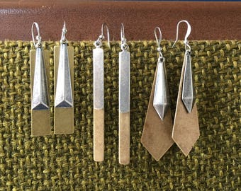 Shoot Straight Latered Mixed Metal Bar drop earrings brass and silver coated rectangle dangles