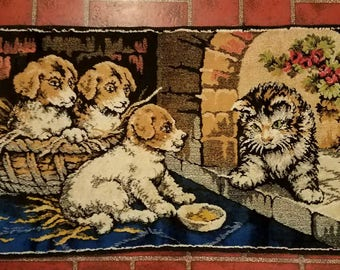 Vintage Italian Style Tapestry Kitten with Puppies and Geranium