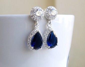 Summer Sale Bridal Earrings Blue Sapphire CZ Halo Pear CZ Teardrop Silver Post Stud CNEP2-B
