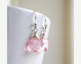 Summer Sale Swarovski Crystal Earrings Pale Pink  Wire Wrapped Sterling BE12