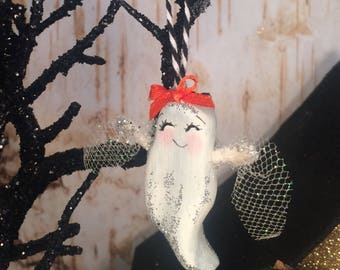 Halloween ornament vintage retro inspired halloween ghost baby ghost whimsical ghost ornament orange and black