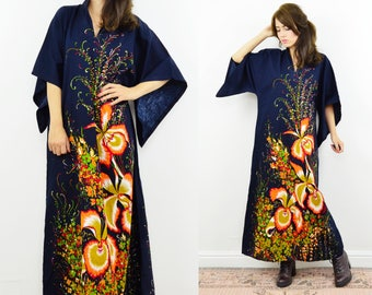 90s floral kaftan, floral kaftan dress, boho floral dress, beach cover up, hippy kaftan dress, vintage maxi dress, floral maxi dress
