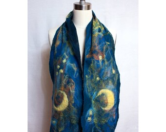 Nuno Felted Scarf on Silk Gauze Celestial Art to Wear