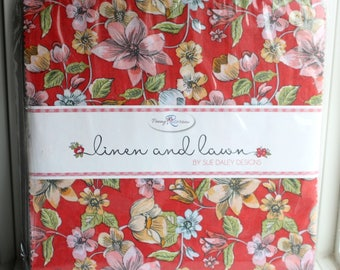 SALE LINEN and LAWN 10 inch squares Layer Cake by Sue Daley from Penny Rose Fabric