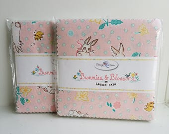 "SALE 2 Packs 5"" inch squares BUNNIES & BLOSSOMS charm pack fabric by Penny Rose by Lauren Nash"