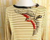 Blackbird Blouse, choose your size, in hand printed illustration on American honey striped organic cotton