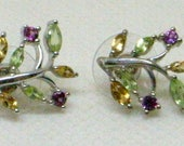 Vintage Multi-Gemstone Earrings - Sterling With Peridot, Citrine And Rhodolite Garnets