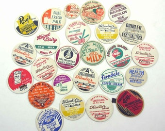 Assorted Vintage Milk Bottle Caps Set of 25 Lot C
