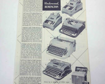 Vintage 1950s Catalog Page of Underwood Remington Portable Typewriters for Home or Office