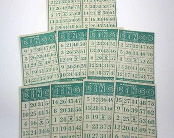 Vintage 1940s Green Transogram Bingo Cards Set of 10