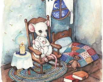 Mouse Bedtime - Original Watercolor Painting by Fanny Dallaire