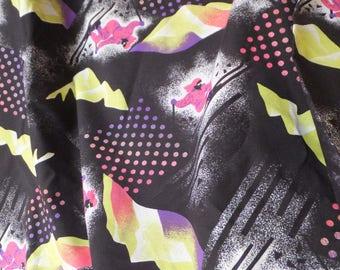 Neon 1980's Ski Fabric Black & Neon 80's Fabric Downhill Skiing Fabric 80's Teen Fabric Sporty Fabric Neon Pink Purple Yellow Black Fabric