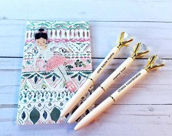 Diamond Top Blush Ballpoint Pen with Sentiment