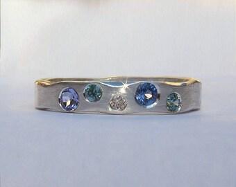 Sapphire Cobblestone Multi Stone Ring - Size 6 Ready To Ship