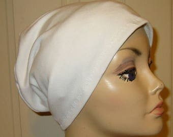 White  Knit Chemo Cap Wear it 2 Ways  Cancer Hat, Alopecia, Modest Hat,