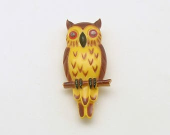 Vintage Owl Brooch Costume Jewelry