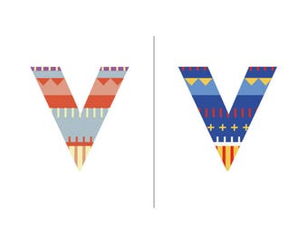 Sweater Letter 'V' Embroidery pattern - 2 colour ways - digital download contemporary needlework