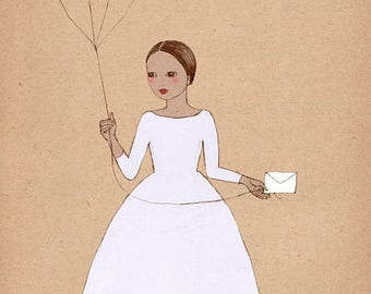 Sale Girl with Balloons art print of original illustration drawing