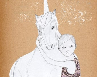 Sale Girl and UnicornDeluxe Edition Print of original drawing