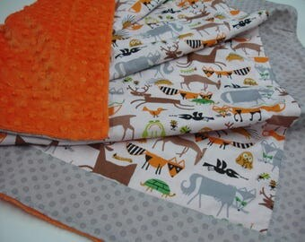 Rustic Woodland Animals Minky Baby Blanket 25 x 44 READY TO SHIP