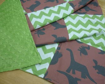 Dinosaur Tumble Brown and Green Patchwork Minky Blanket 35 x 35 READY TO SHIP