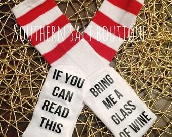 Wine Socks - Funny Socks - Custom Saying Socks