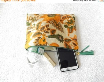 CLEARANCE - Linen pouch, mustard multi pouch, floral clutch, zipper pouch, lined pouch, flat pouch, fashion accessory, womens accessory