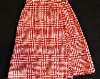 Mid-Century Wool Ladies Mini Skirt - Red and White - Ready to Ship