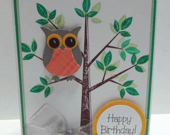 Owl Happy Birthday Card - blank