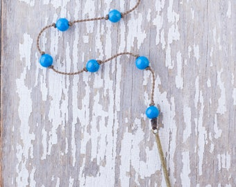 """blue howlite """"Y"""" / handspun knotted rope necklace / waterproof / life-proof / island jewelry / minimalist beauty / tula blue"""