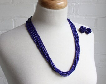 Blue Bead Multi Strand Cobalt Blue Necklace and Earrings / 25 inch 6 Strand Classic Glass Beaded Necklace with Clip on Earrings