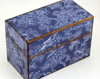 Recipe Box Wood Blue Birds and Flowrs Farmhouse Fits 4x6 Recipe Cards