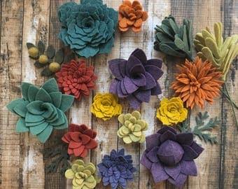 Wool Felt Succulents  Autumn Collection- 15 Flowers & 3 leaves - Create Headbands, DIY Wreaths, Garland, Vertical Garden