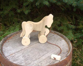 Wooden Pull Toy Horse Amish Handcrafted
