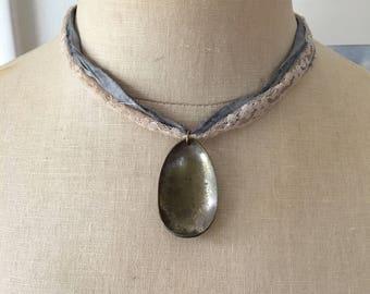 Vintage Silver Plated Spoon Pendant Sari Ribbon Vintage Lace Shabby