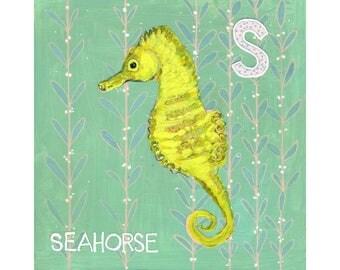 Ocean, Seahorse Decor, Wall Art, Animal Art, Home Decor, Art on Wood, Seahorse Painting, Original Artwork 8X8 | Seahorse