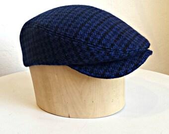 Men's Driving Cap in Dark Blue and Black Check - Men's Flat Cap - Wool Cap - Made to Order