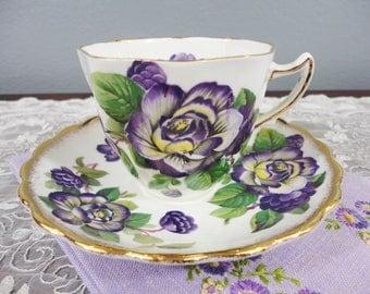 Rosina Purple and Yellow Pansies English Bone China Teacup and Saucer