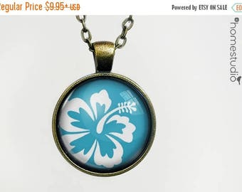 ON SALE - Hibiscus (BLU) : Glass Dome Necklace, Pendant or Keychain Key Ring. Gift Present metal round art photo jewelry by HomeStudio