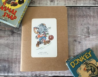 Football Notebook with vintage playing card cover A6 size
