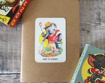 Elephant Notebook with vintage playing card cover A6 size