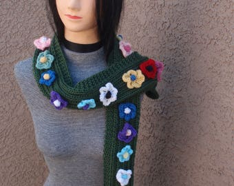 Knit scarf with flowers, flower scarf, green scarf, hippie scarf, multi-color scarf, scarf and headband, flowers, knitted scarf, women