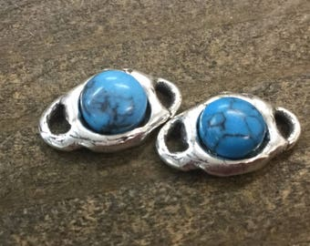 Turquoise cabochon Link Sterling Silver