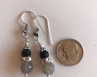 Black Onyx & Agate Earrings-Gemstone Drop Earrings